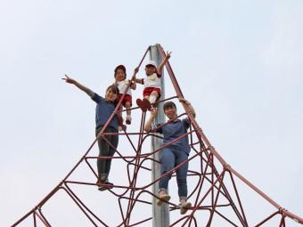 高~いネットジムの頂上です!